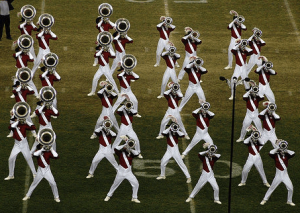 marching band horn line performing